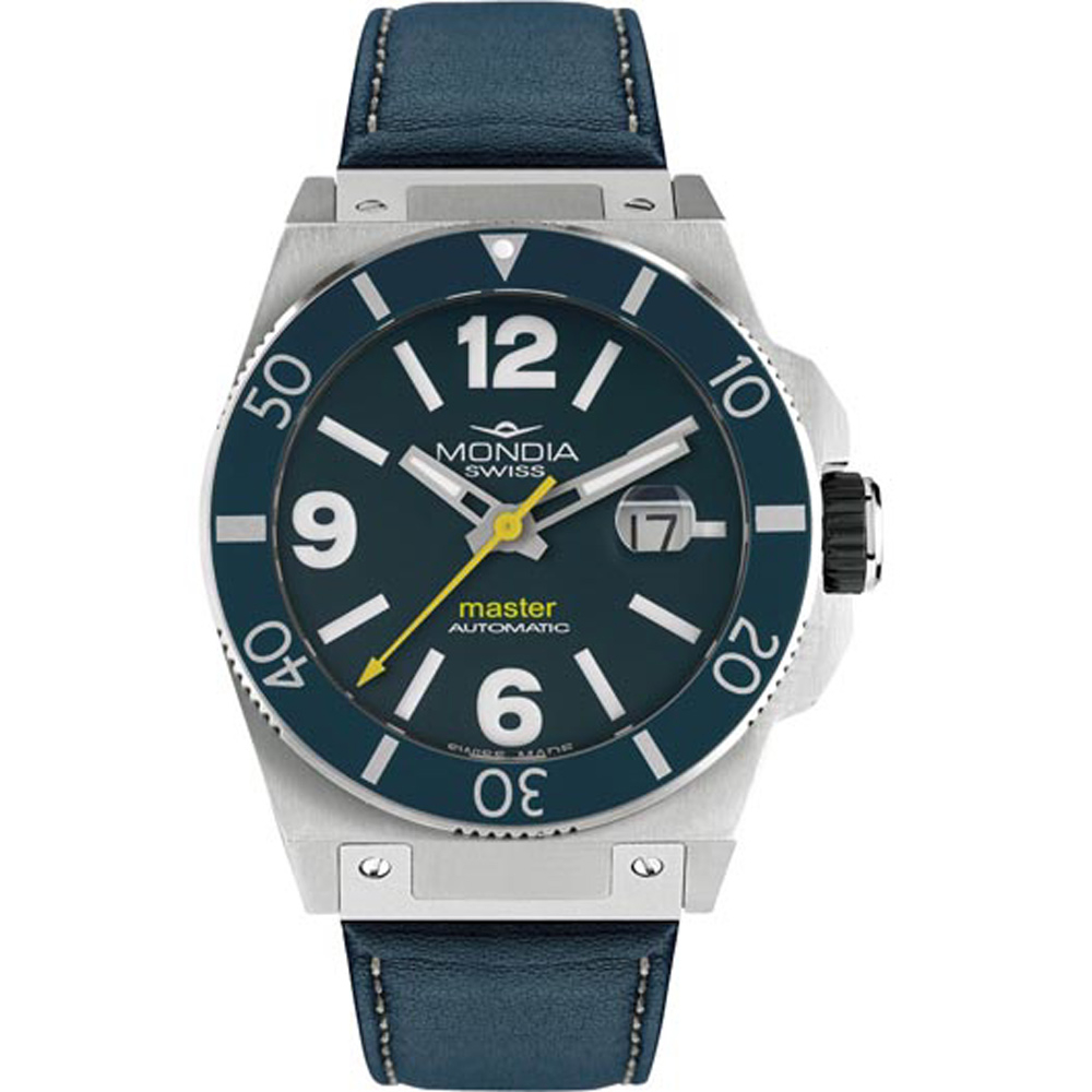 Mondia Swiss Master Automatic Men's Watch ETA-2824 10ATM Black Bezel Blue Leather Strap MS-200-SS-04BL-CP Italy