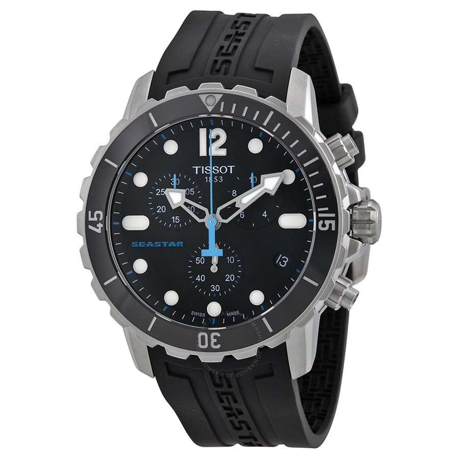 Tissot Seastar T066427 A Automatic Chronograph Diver Black Men's Watch 48mm