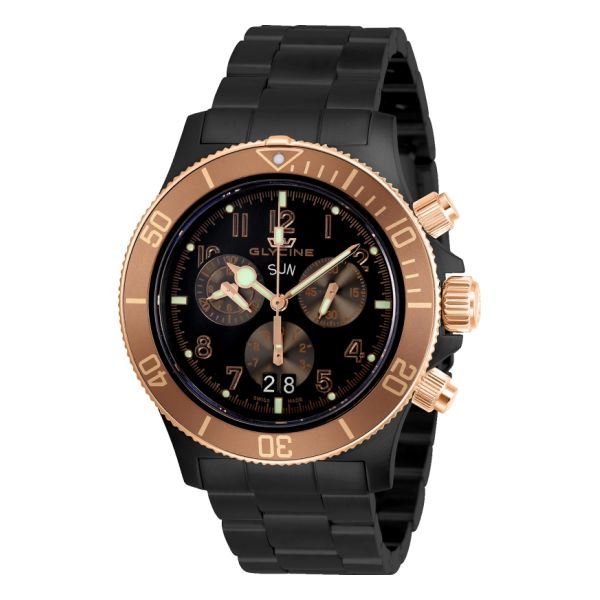 Glycine Combat Sub Rose Gold Dial Chronograph Swiss Watch GL1000