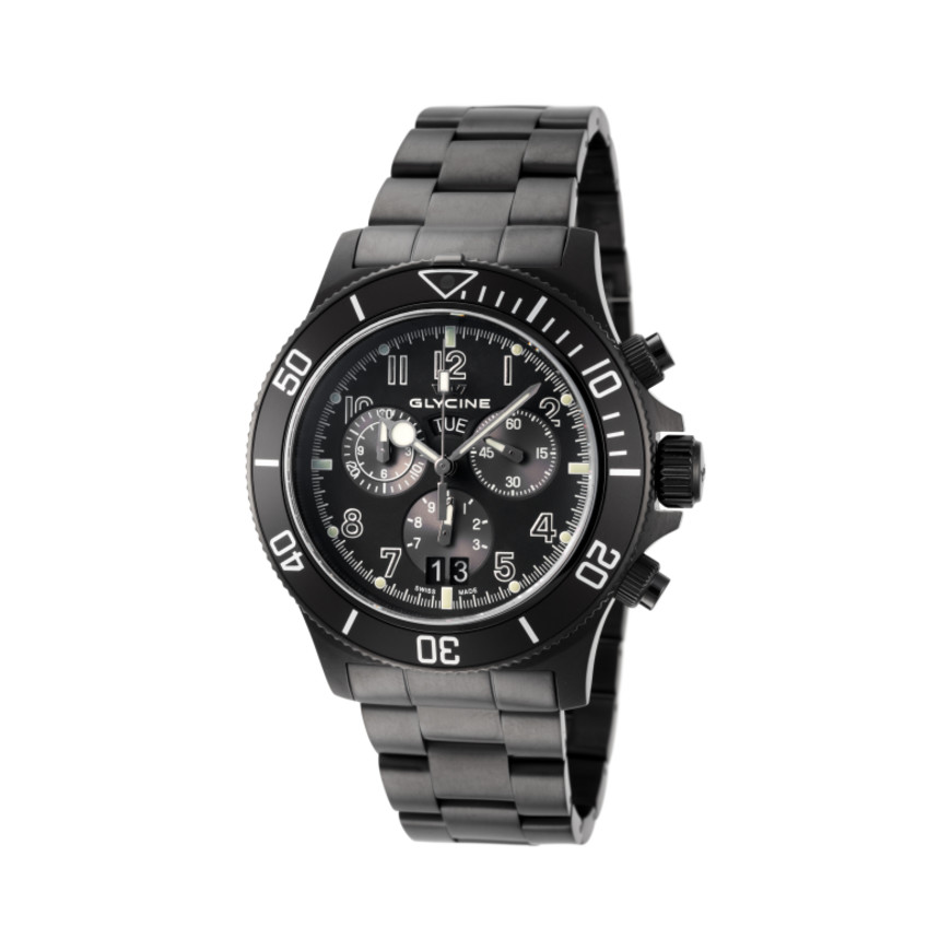 Glycine Combat Sub Black Dial Chronograph Swiss Watch GL1001