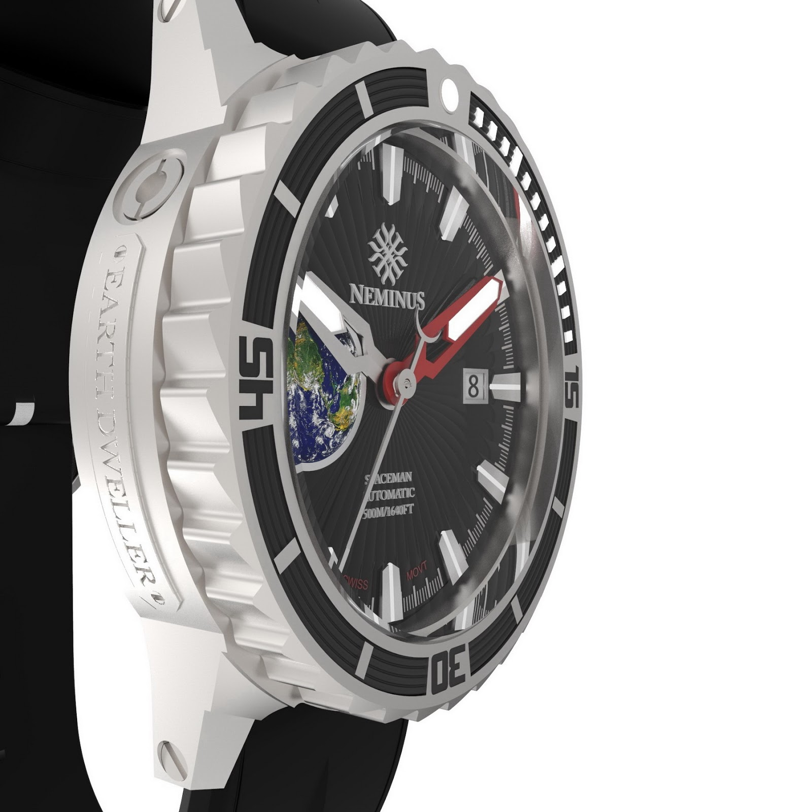 Neminus Spaceman Earth Dweller Swiss Automatic Diver Watch Limited Edition