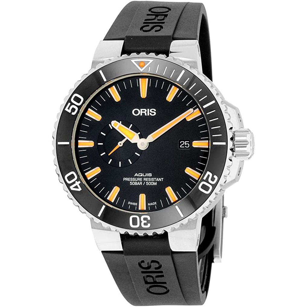 Oris Aquis Small Second Date Mens Stainless Steel Automatic Diver Watch 45mm 74377334159RS