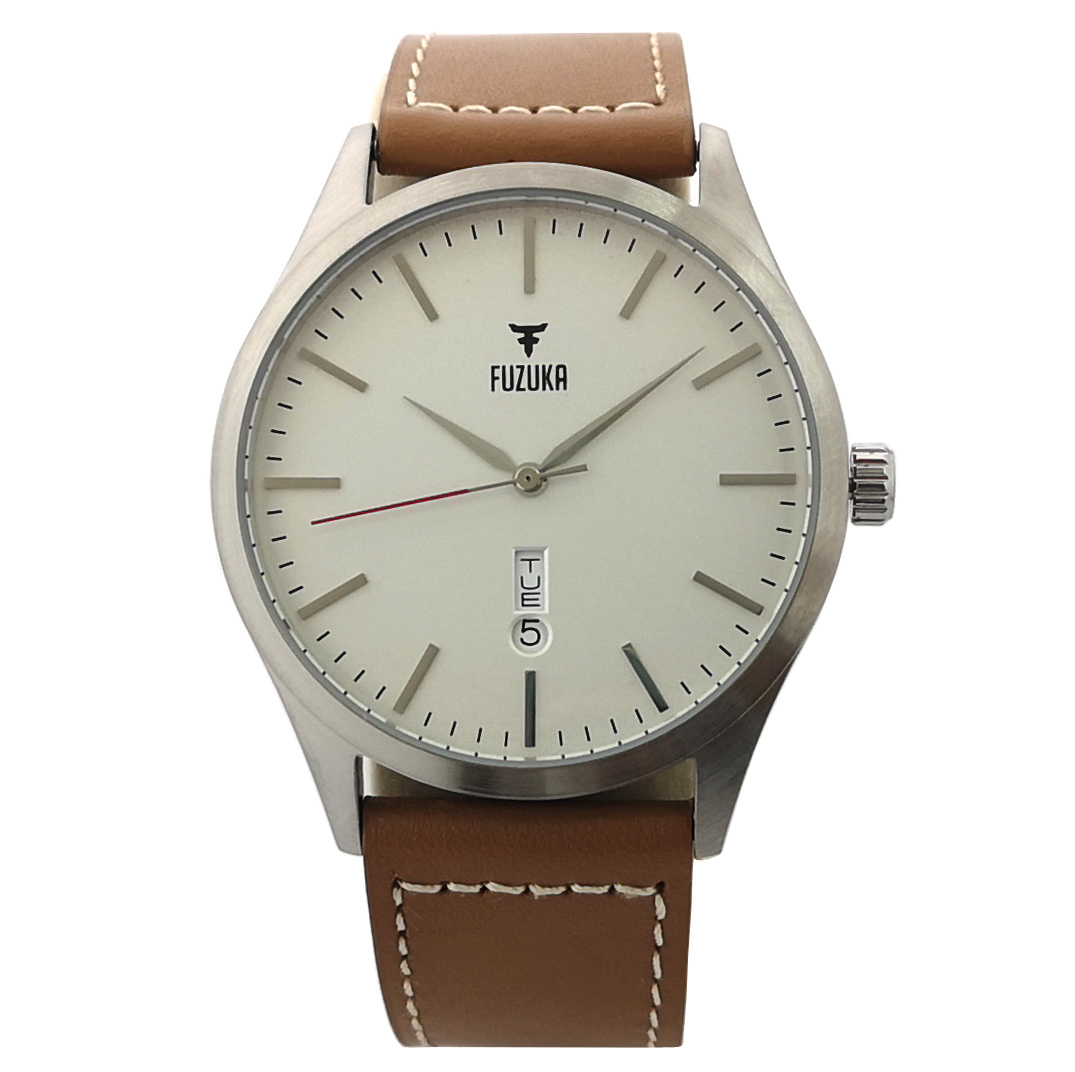 Fuzuka Silver White Tan Leather Strap Japanese Ladies Youth Unisex Watch