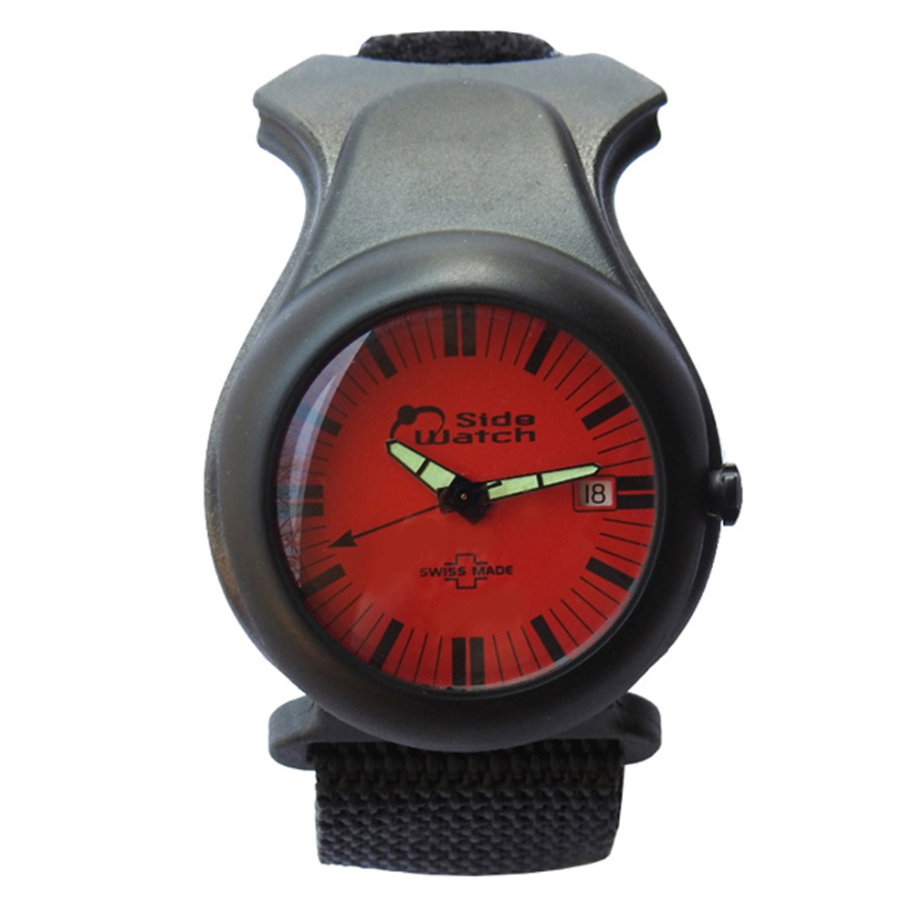 Side Watch by Andre Le Marquand Red/Black Carbon Fiber Swiss