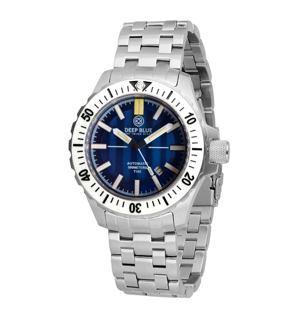 Deep Blue DayNight T-100 SS MIL OPS Ceramic White Tritium Diver Watch