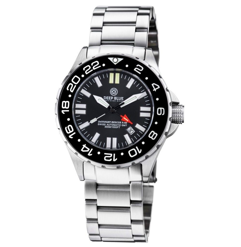 Deep Blue Daynight Rescue T-100 Tritium GMT Swiss Automatic Dive Watch