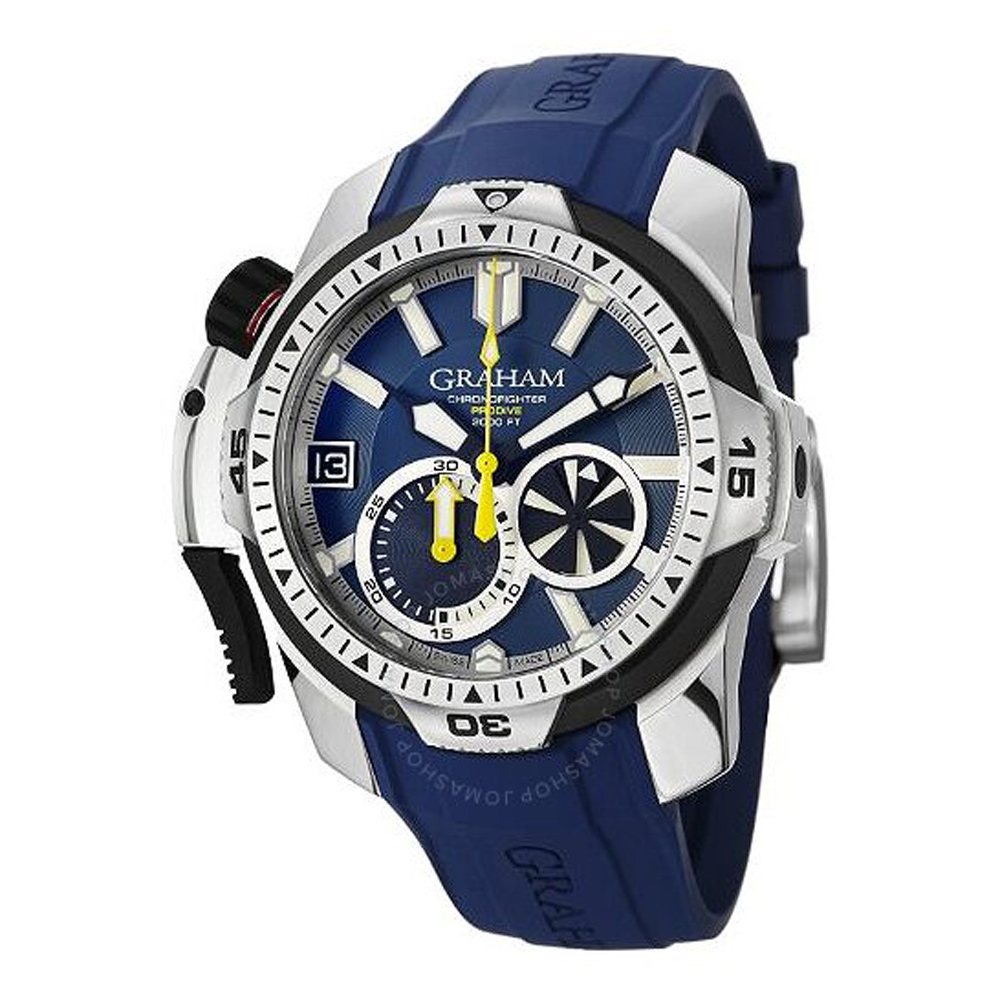 GRAHAM Chronofighter Prodive Blue Dial Blue Rubber Men's Watch 45mm 2CDAVU01A