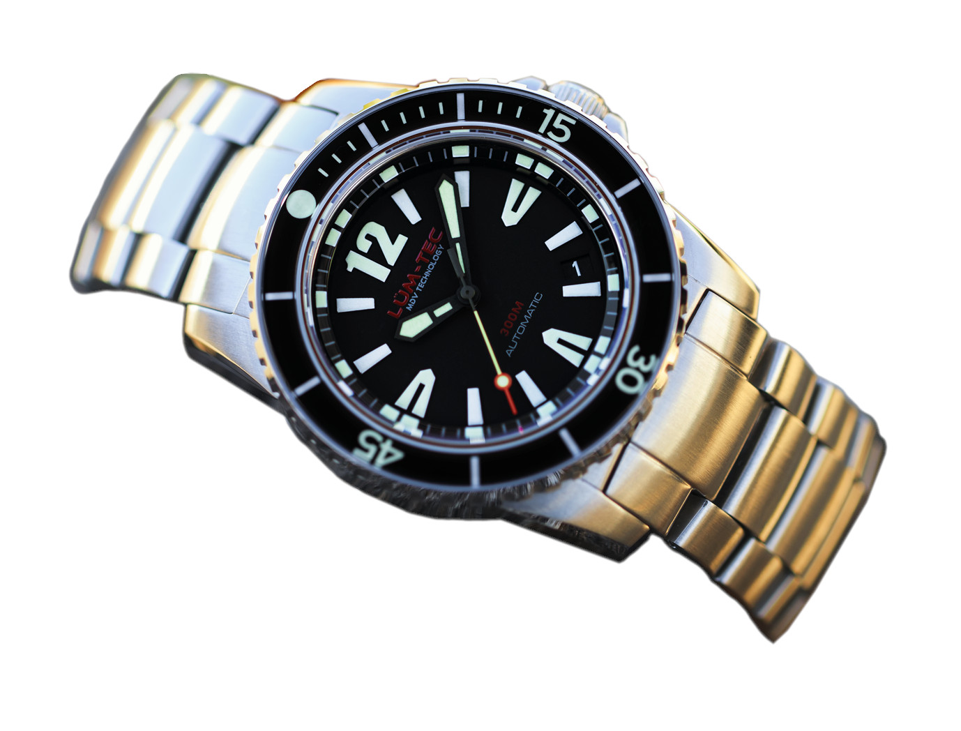 Lum-Tec 300M-1 Men Watch 40mm Automatic Diver Stainless Steel Two Straps 300m WR